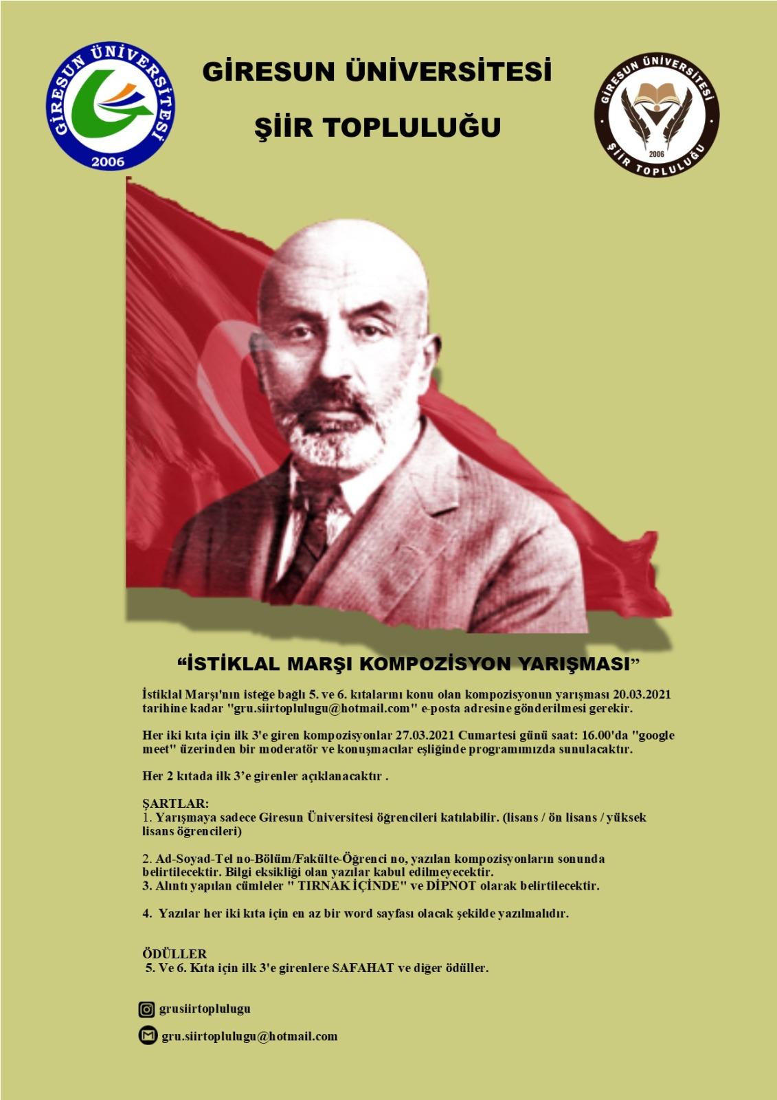 """""""İstiklal Marşı'nın Kabulü ve Mehmet Akif Ersoy'u Anma Günü"""" Kompozisyon Yarışması"""