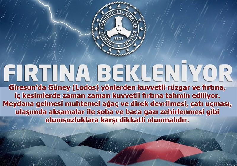 Bölgemizde Kuvvetli Rüzgar ve Fırtınaya Dikkat!