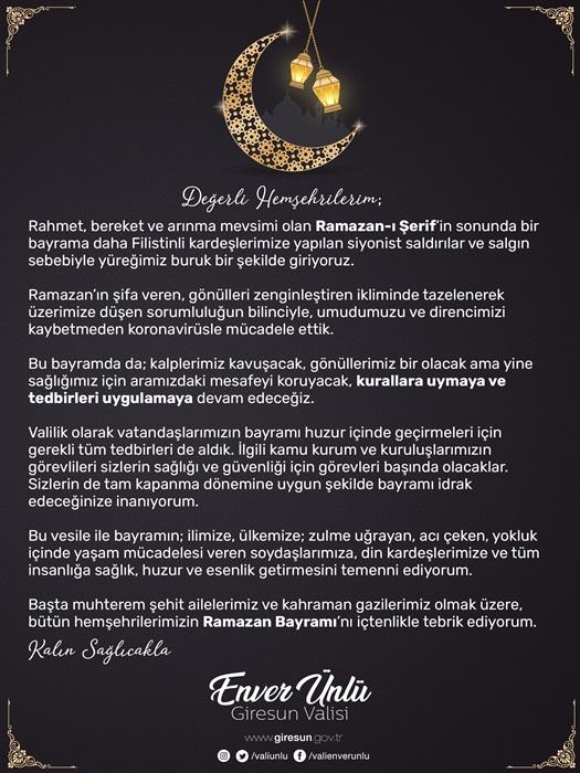 Vali Ünlü'nün Ramazan Bayramı Mesajı