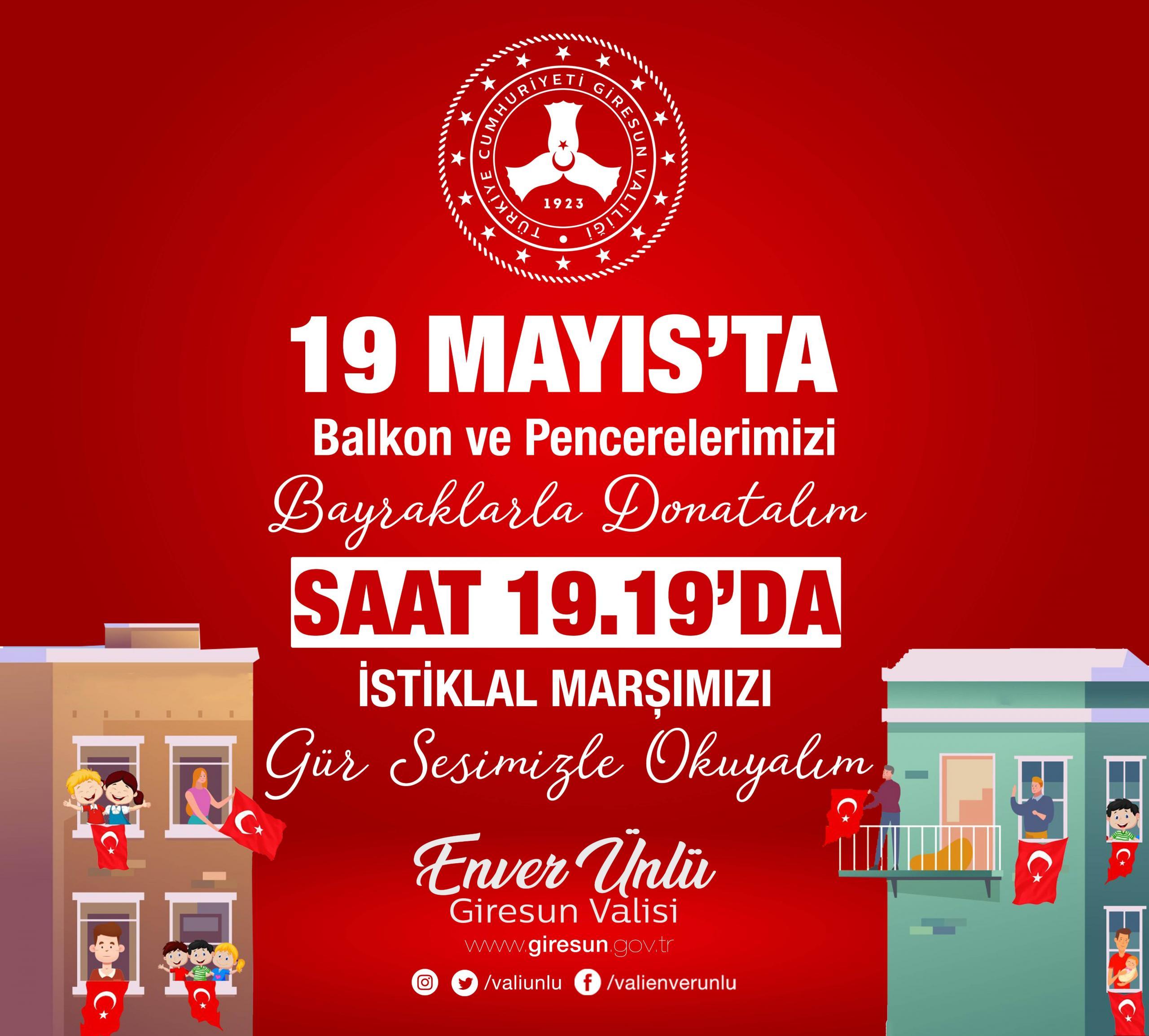 """Vali Ünlü'nün """"19 Mayıs Atatürk'ü Anma, Gençlik ve Spor Bayramı"""" Mesajı"""