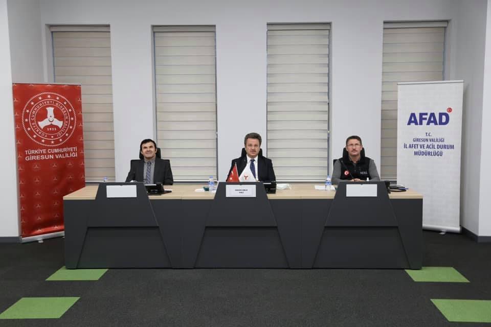 Giresun Afet ve Acil Durum Yönetim Merkezinde Değerlendirme Toplantısı yapıldı